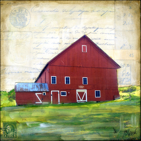 "Red Barn II, 8"" x 8"" - J.C. Spock"