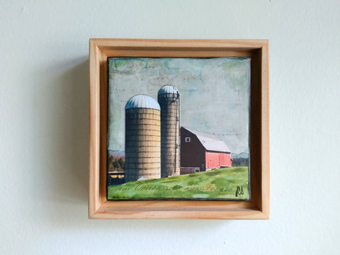 "Red Barn III, 4"" x 4"" - J.C. Spock"