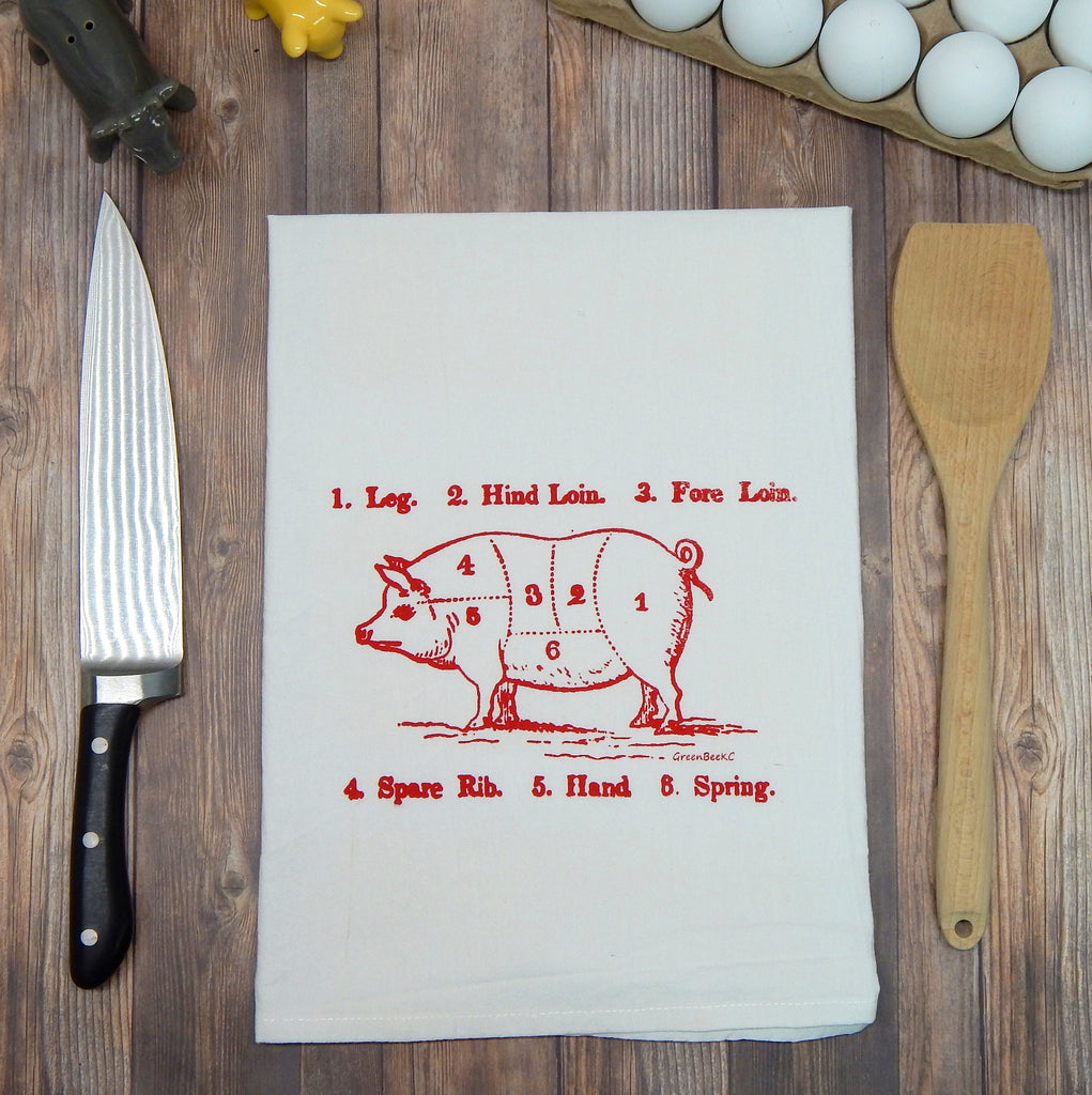 Green bee KC Red Ink Pork Butcher Cuts Hand Printed In Kansas City