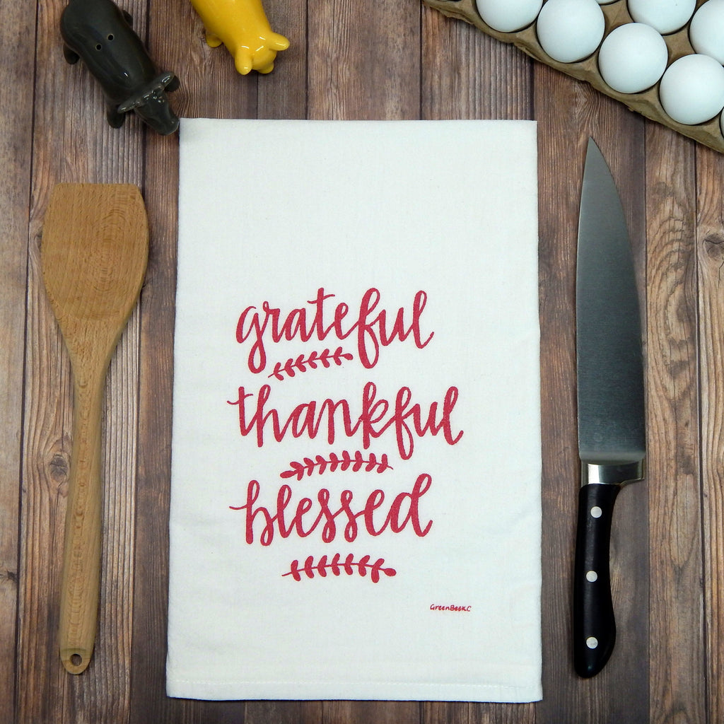 Grateful, Thankful, Blessed - metallic raspberry