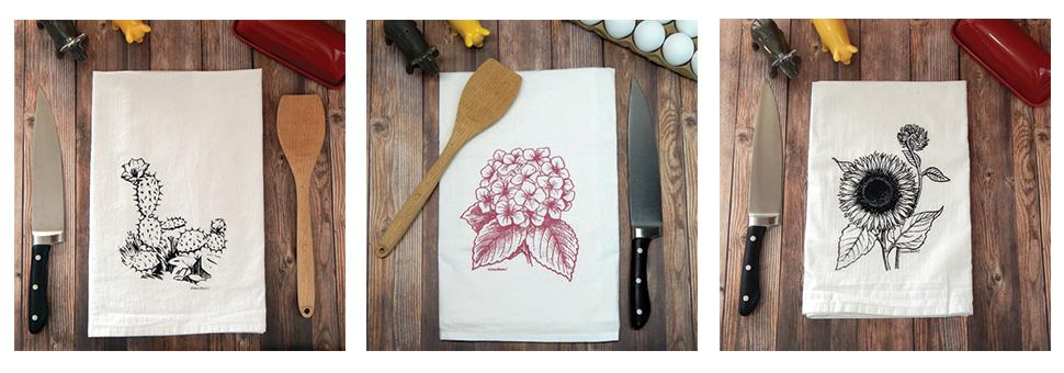 Green Bee KC Designs hand printed tea towels cactus hydrangea sunflowers