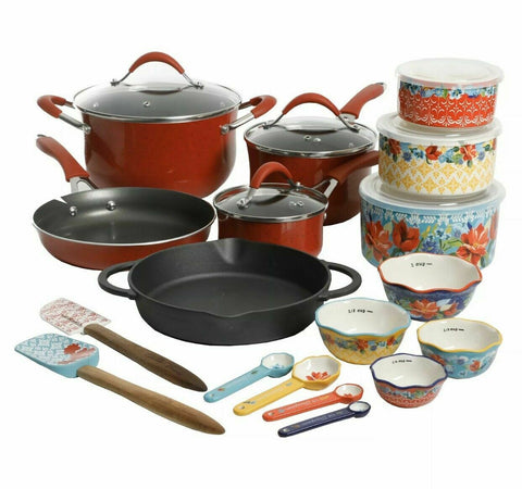 The Pioneer Woman  24-Piece Cookware & Food Storage Combo Set/ Red