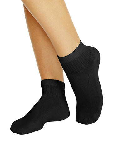 Hanes Women's Ankle Arch Support Cool Comford  Pack of 6+2 Black