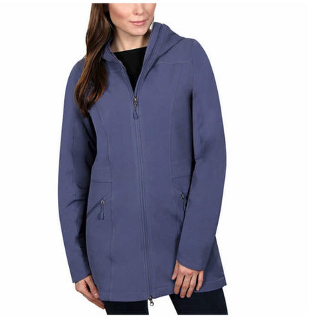 Kirkland Signature Ladies' Long Softshell Jacket, Attached hood Night Shadow/ S