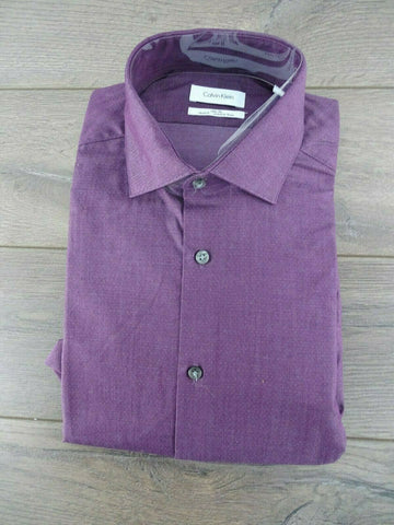 NWT Men's Calvin Klein Slim Fit, Stretch, Wrinkle Free Long Sleeved Dress Shirt