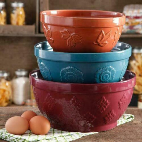 Pioneer Woman Cornucopia 3 Piece Embossed Mixing Bowl Set