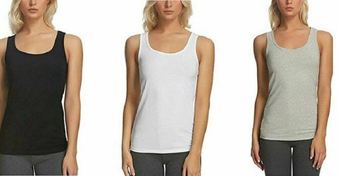Felina Womens Cotton Stretch Layering Tank Top 3 Pack Black/White/Gray, Medium