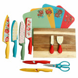 New Pioneer Woman Vintage Floral 20-Piece Cutlery Set - Knives Cutting Board