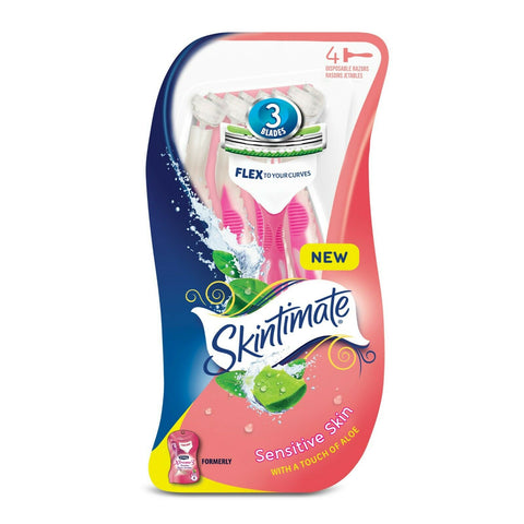 -NEW-Skintimate Sensitive Skin 3 Blade Disposable Razor For Women, 4 Count