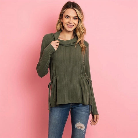 Cowl Neck Olive Top