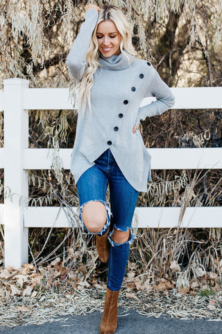 Cowl Asymmetrical Button Sweater- Grey
