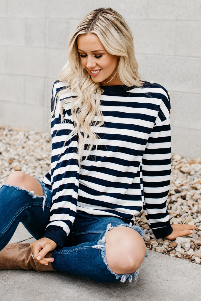 Perfect Buttton Striped Top - Navy