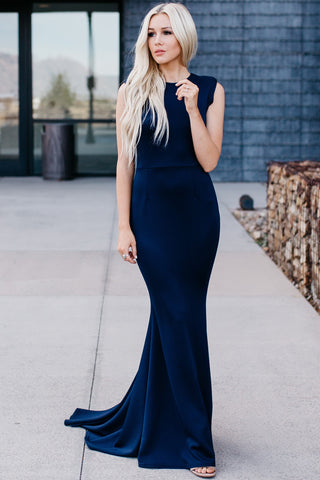 After Midnight Embroidered Gown - Navy