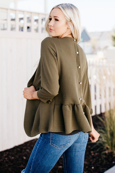 Cute Button Top - Olive