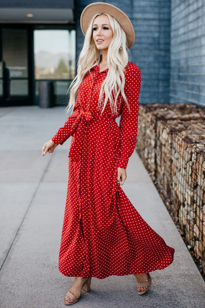 Polka Dot Day Dream Dress - Red
