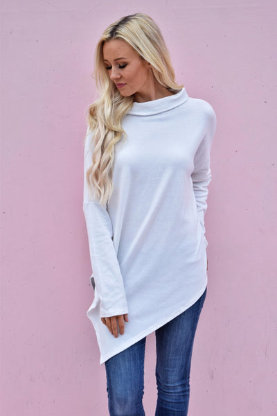 White Soft Faux Poncho