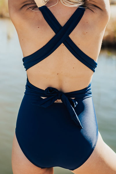 Retro Cross-Back One Piece - Navy