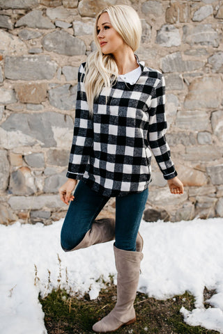 Plaid Fleece Pullover Sweatshirt - White
