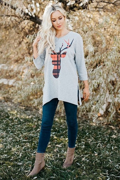 Plaid Reindeer Tunic - Gray