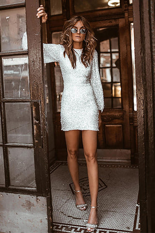 Puffy Sleeve Sequin Dress - White