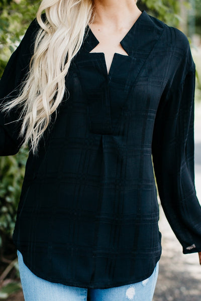 Crepe Plaid Blouse - Black