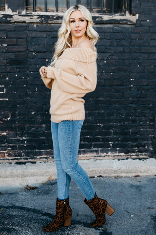 Super Cute Off The Shoulder Sweater - Khaki