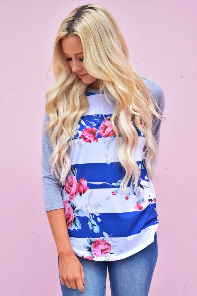 Bold Stripe Rose Floral Top
