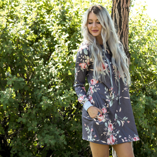 Grey Drawstring Hoodie Dress