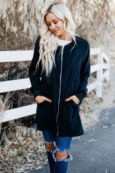 Winter Vibes Lightweight Coat - Black