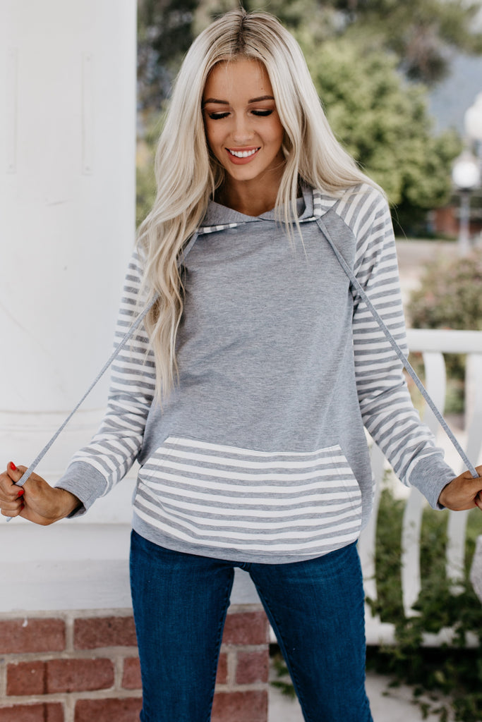 Double Hoodie Stripe Sweatshirt - Light Gray