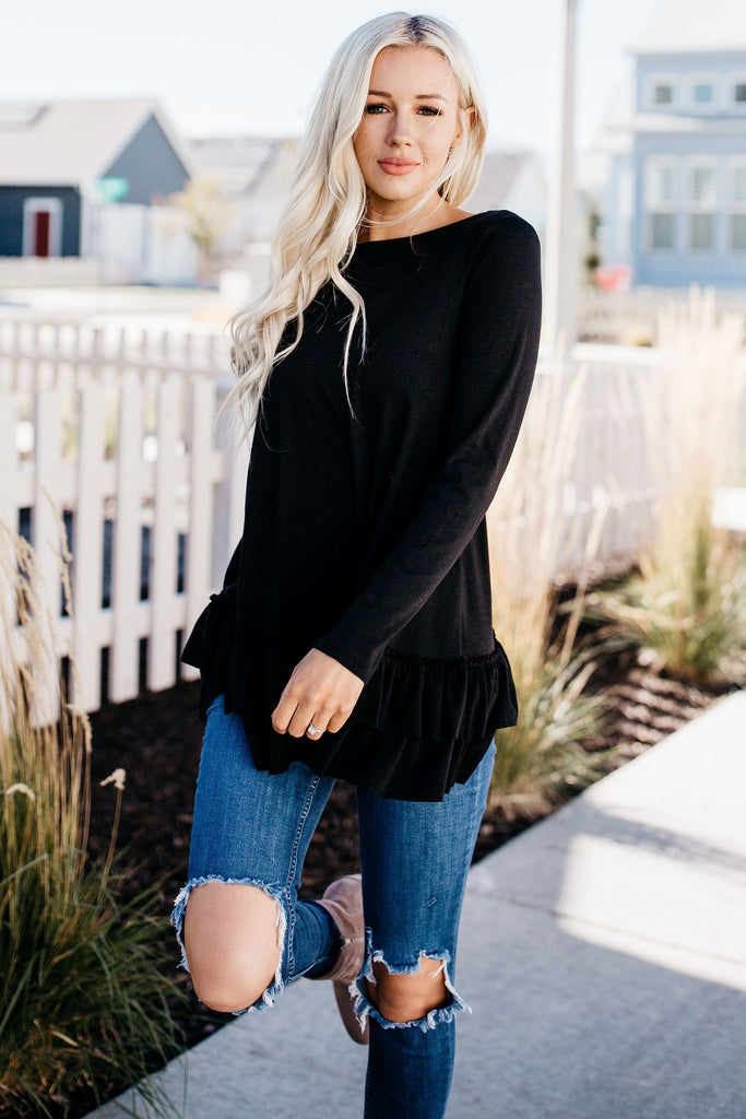 Ruffle Beauty Tunic - Black