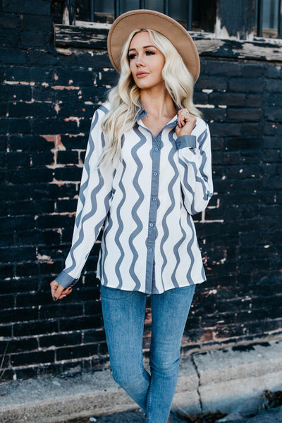 Wavy Stripes Button Down Top - Gray