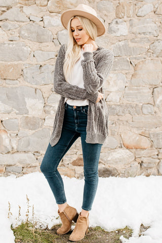 Oh So Soft  Knit Cardigan - Gray