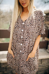 Cheetah Print Button Dress