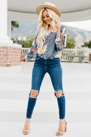 Day Dreams Floral Top - Grey