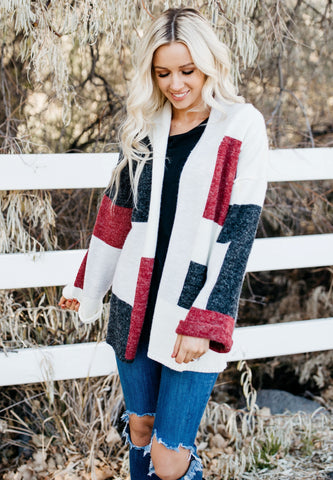 Colorblock Open Front Cardigan - Burgundy Charcoal
