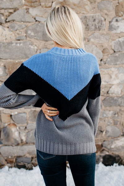 Loving The Chevron Sweater - Blue