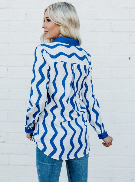 Wavy Stripes Button Down Top - Blue