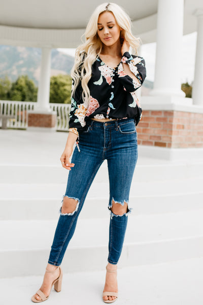 Day Dreams Floral Top - Black