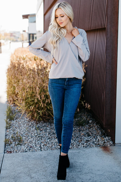 Wrap Front Blouse - Gray