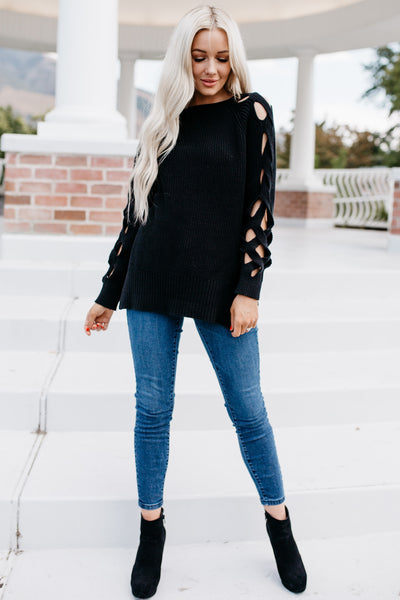 Cut It Out Sweater - Black