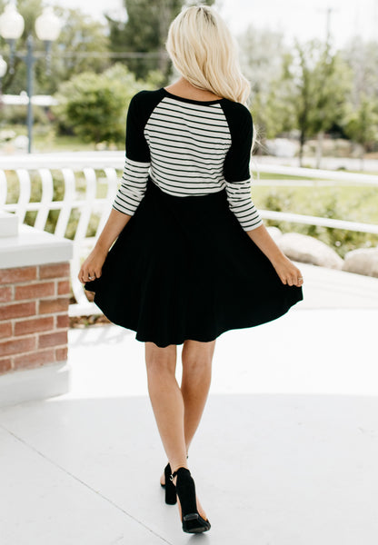 Striped Swing Dress - Black