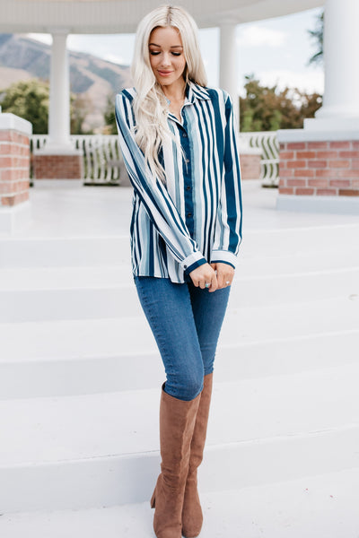 Own The Night Blouse - Blue/White