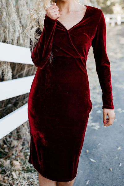 Picture Perfect Velvet Dress - Burgundy