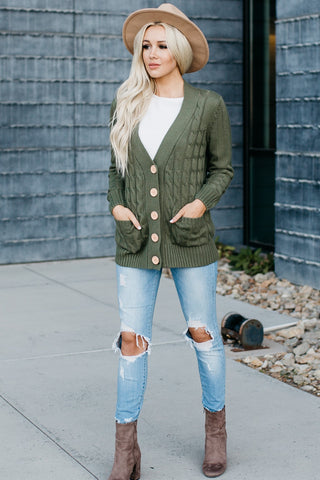 Cozy Pocket Cardigan - Green