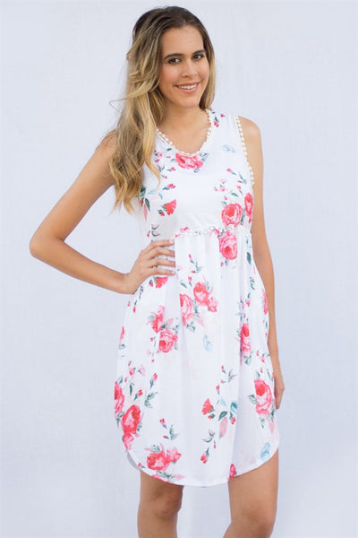 Pom Trim Floral Dress