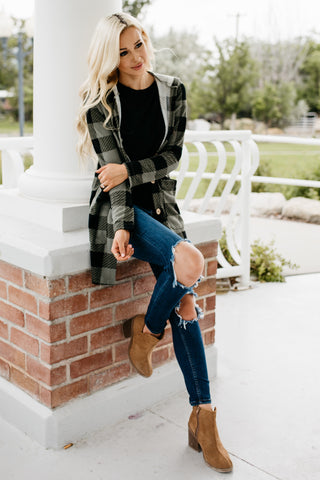 Bring The Chill Plaid Cardigan - Olive Green