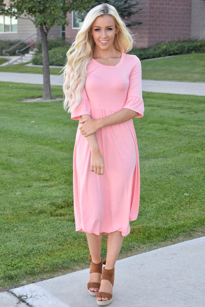 Pink Ruffle Sleeve Midi Dress