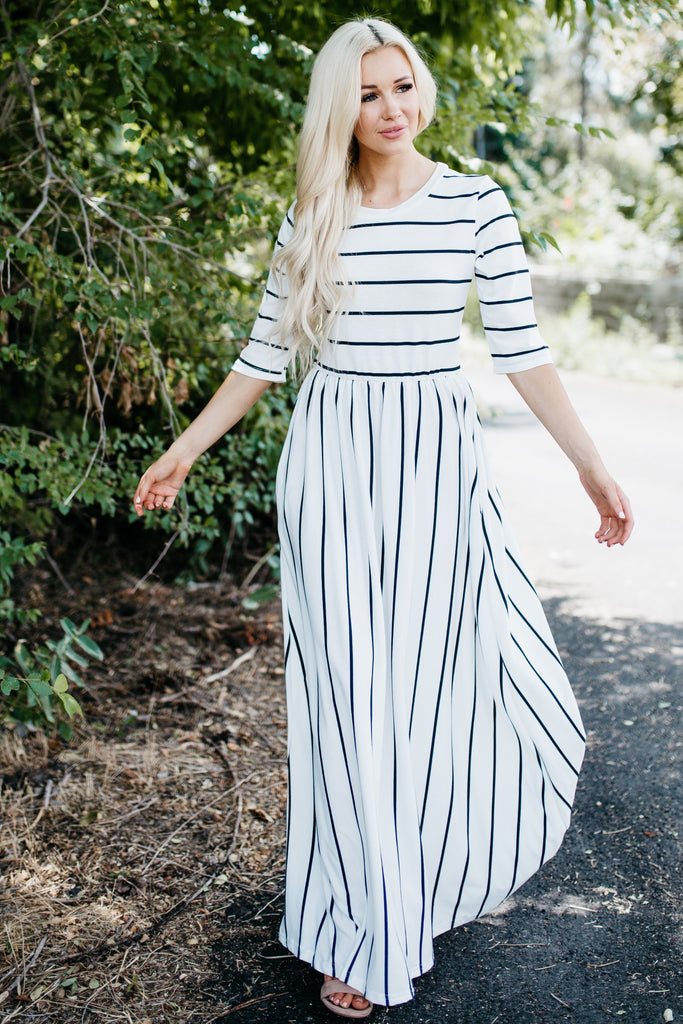 Striped Pocket Maxi Dress - White