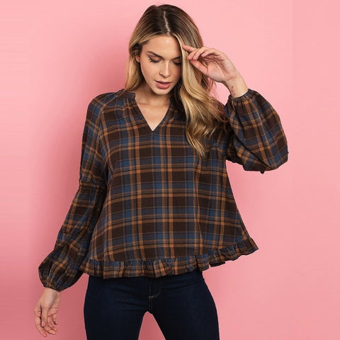 Chelsea Plaid Tunic - Mocha/Blue